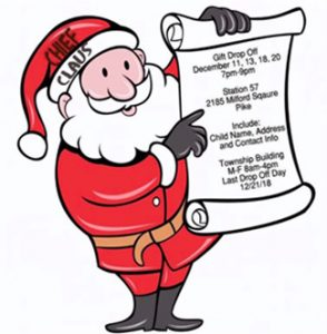 Santa illustration holding up dates and times.