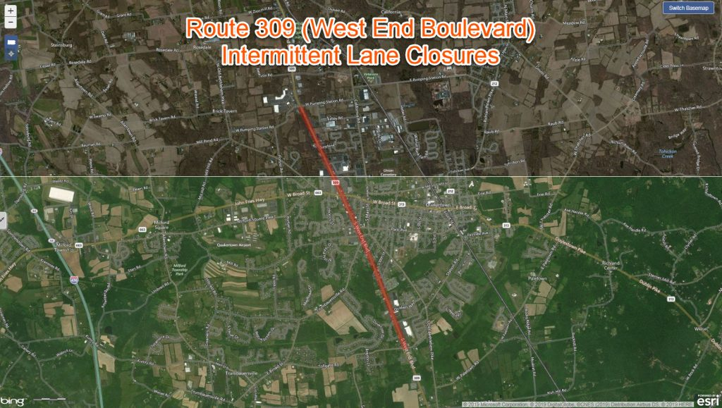 Map of Route 308 closures