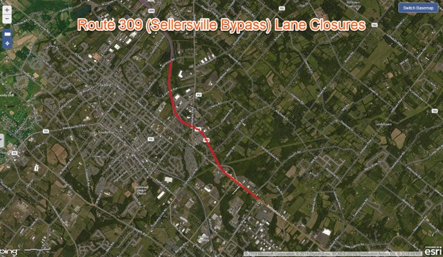 Route 309 (Sellersville Bypass) Weekday Lane Closures
