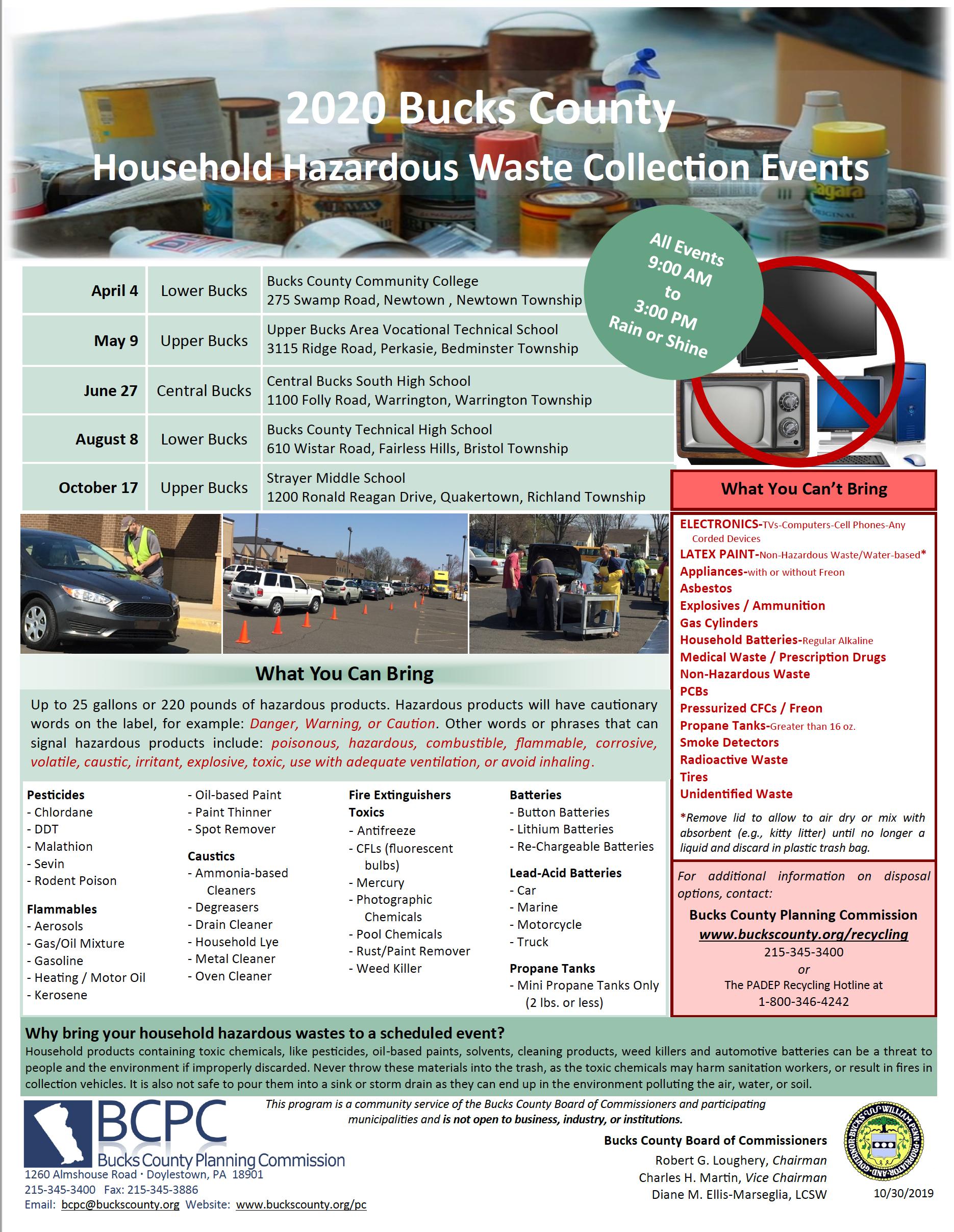 2020 Bucks County Household Hazardous Waste Collection Event